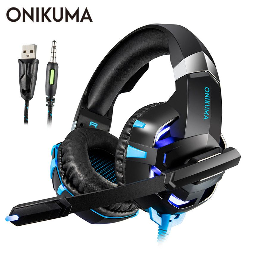 ONIKUMA K2 PS4 Gaming Headset casque PC Stereo Earphones Headphones with Microphone LED Lights for Laptop Tablet / New Xbox One