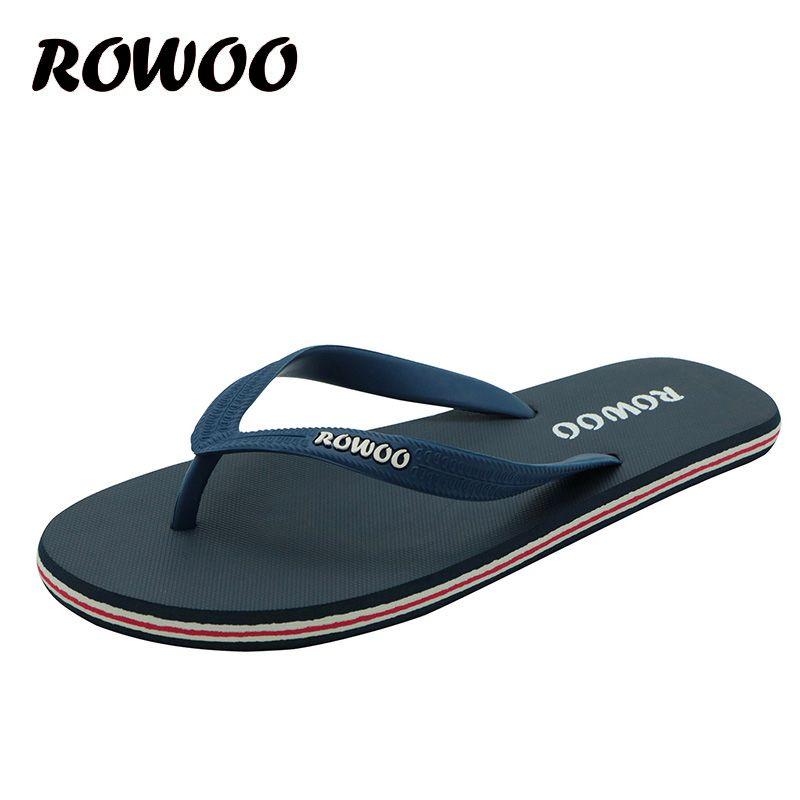 Offre spéciale été chaussures en caoutchouc mode tongs hommes sandales mâle plat plage pantoufles noir rouge grande taille 38-46