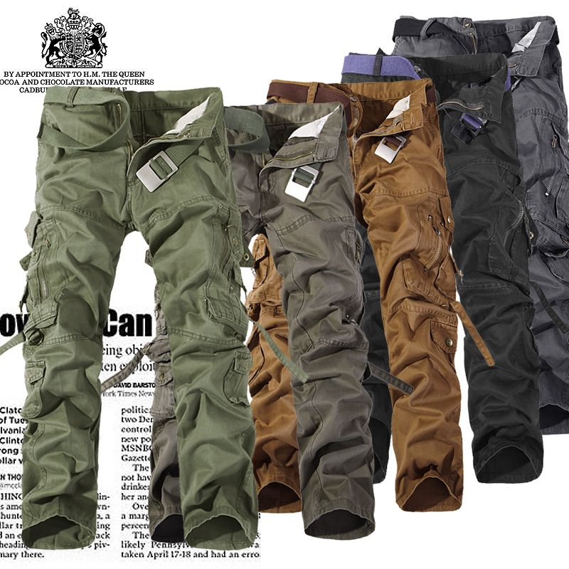 2018 Autumn Men Cargo Pants army <font><b>green</b></font> grey black big pockets decoration Casual easy wash male autumn pants Free shipping 28-42