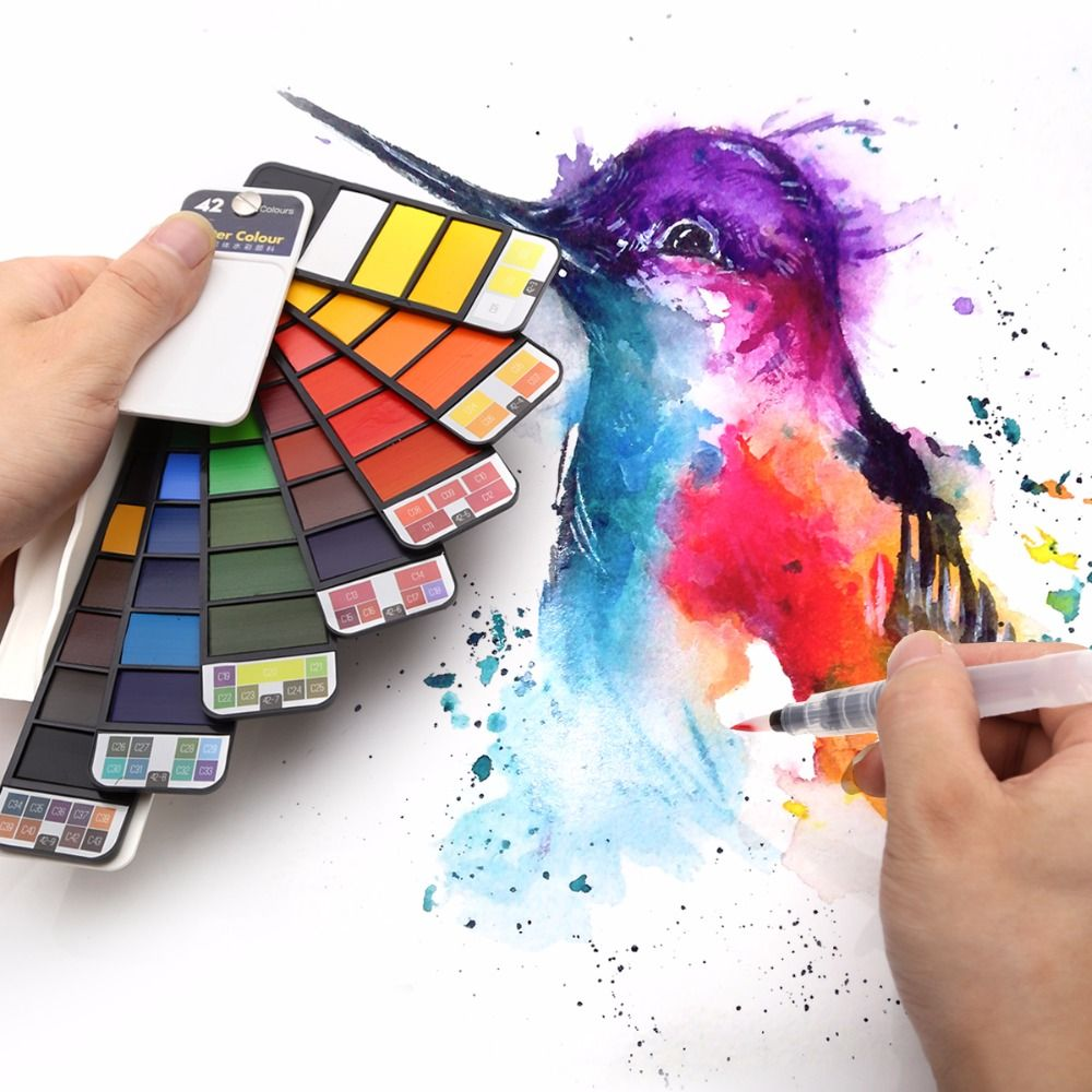 Lien de livraison directe, peinture à l'aquarelle solide de 42 couleurs avec le Pigment d'aquarelle de stylo de brosse à eau pour dessiner des couleurs de l'eau de peinture