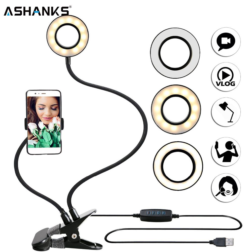 Photo Studio Selfie LED Ring Light with Cell Phone Mobile Holder for Youtube Live Stream Makeup Camera Lamp for iPhone Android