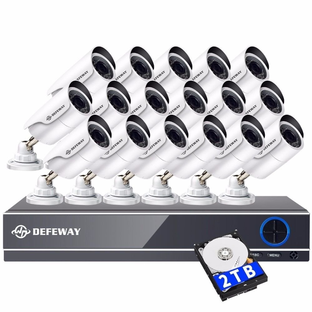 DEFEWAY 2000TVL 1080P HD 16PCS CCTV Security Camera System Video Surveillance DVR Kit 16 CH Night Vision With 2TB HDD