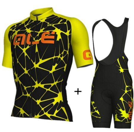 2017 ALE Ciclismo Jersey set hombre manga corta respirable ropa ciclismo mountain bike camisas BiB shorts 9d gel pad