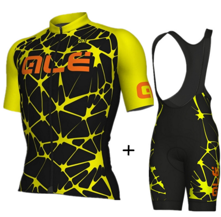 2017 ALE Ciclismo Jersey set hombre manga corta respirable ropa ciclismo mountain bike camisas BiB shorts 9d gel pad