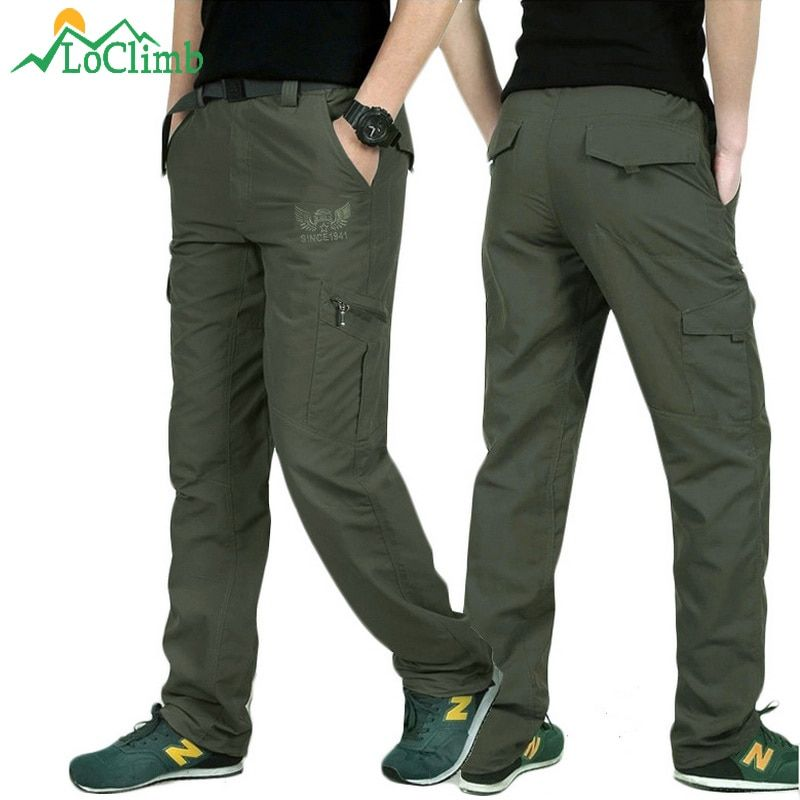 LoClimb Outdoor <font><b>Quick</b></font> Dry Hiking Pants Men Summer Mountain Climbing Fishing Trousers Army Trekking Sport Waterproof Pants,AM005