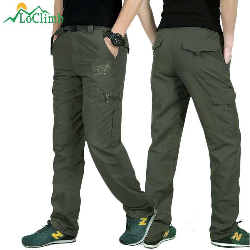 LoClimb pantalons de randonnée à séchage rapide en plein air pour hommes pantalons de pêche d'escalade en montagne d'été armée Trekking Sport pantalons imperméables, AM005