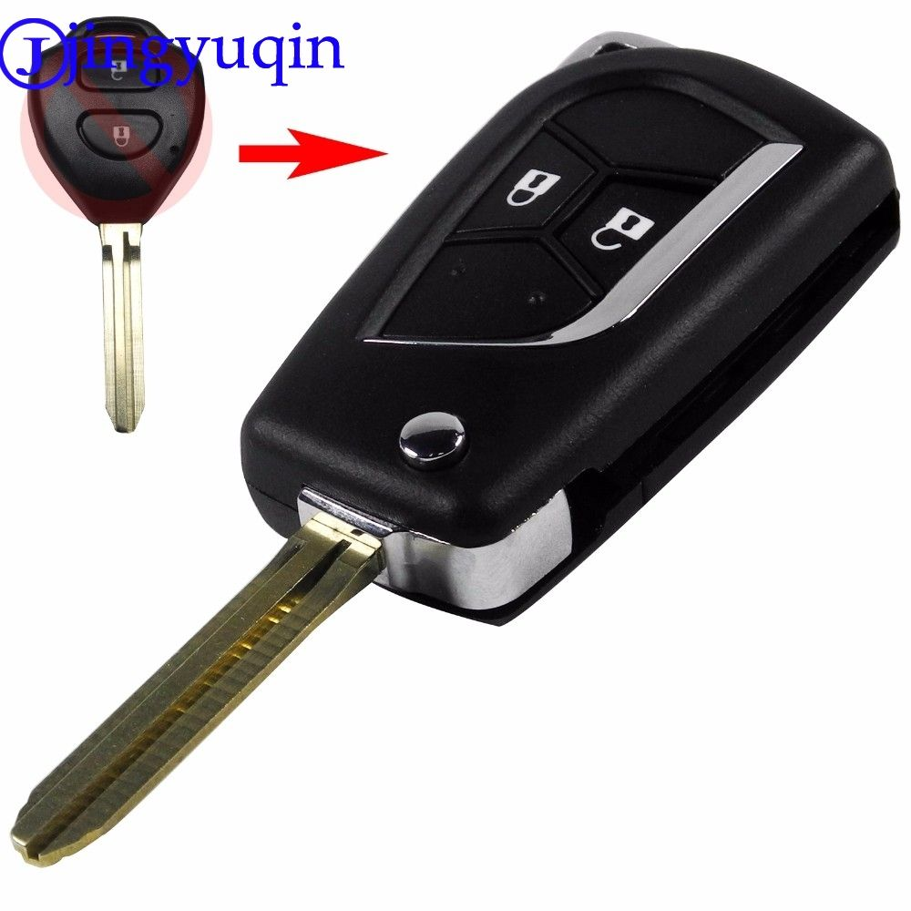 jingyuqin Modified Folding Remote Key Case Shell For Toyota Rav4 Corolla Yaris Avalon Echo Prado TOY43 2 Buttons Fob