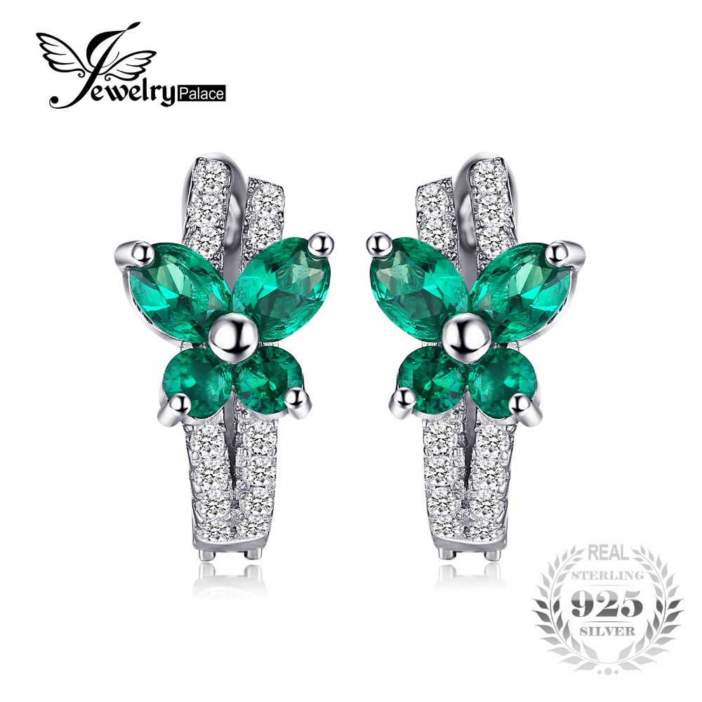 JewelryPalace Butterfly 1ct Nano Russian Created Emerald Clip On Earrings Solid 925 Sterling Silver Jewelry Fine Clip Earrings