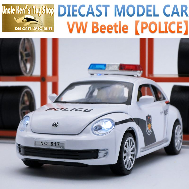 Voiture moulée sous pression VW Beetle longueur 15 Cm, modèle en alliage 1:32, jouets de Police en métal comme cadeau pour enfants avec fonction de retrait/lumière/son
