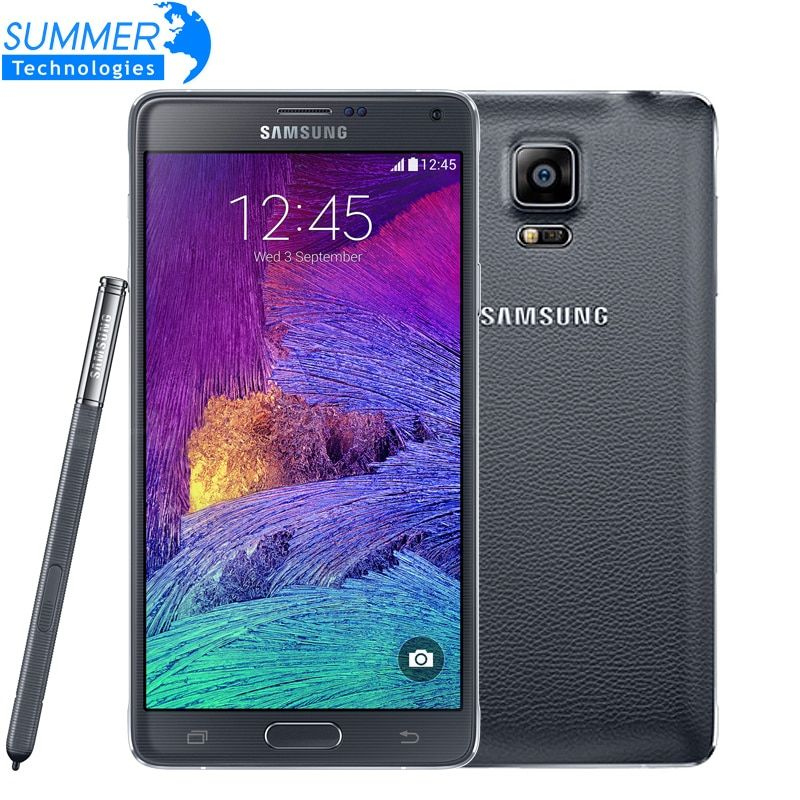 Original Unlocked Samsung Galaxy Note 4 N9100 N910 Snapdragon 805 LTE 5.7 <font><b>16GB</b></font> ROM 3GB RAM NFC WLAN Mobile Phone