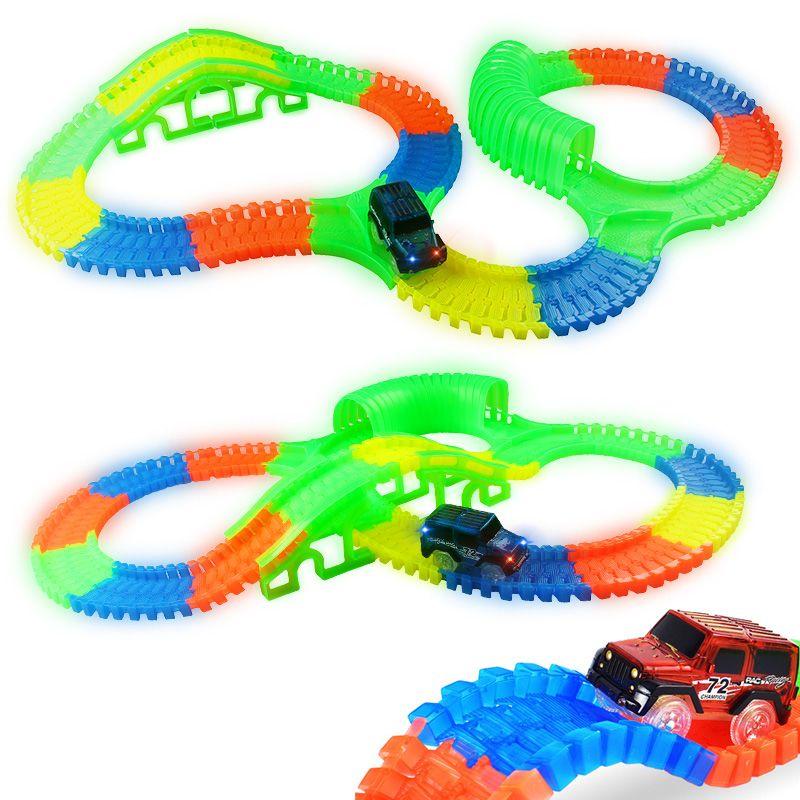 300/150 шт изгиб Гибкая Кривая слот DIY трек игрушка набор с светится в темноте следить свет гоночный автомобиль игрушечные лошадки для детей