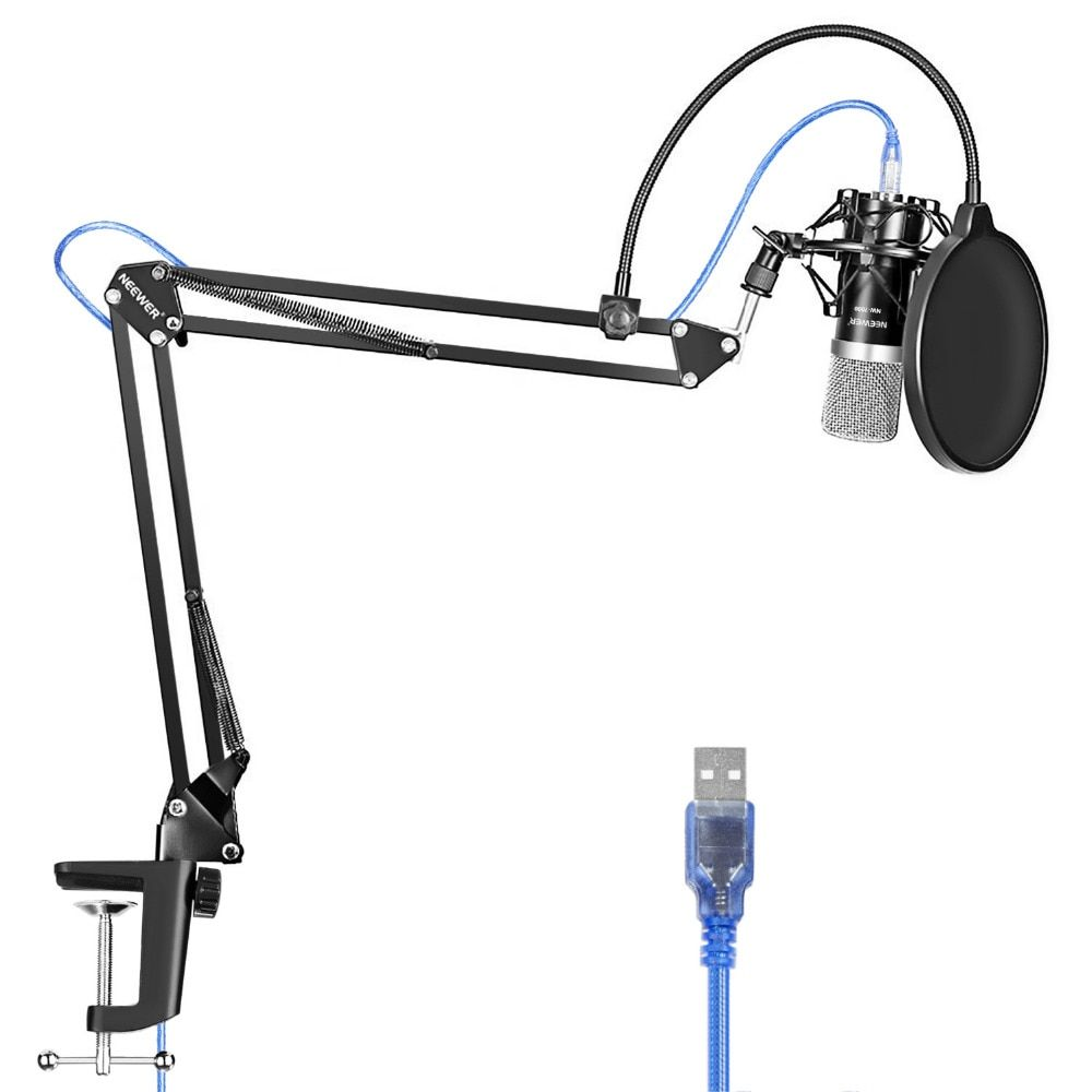 Neewer USB Microphone for Windows and Mac with Stand Shock Mount Table Mounting Clamp Kit for Broadcasting and Sound Recording