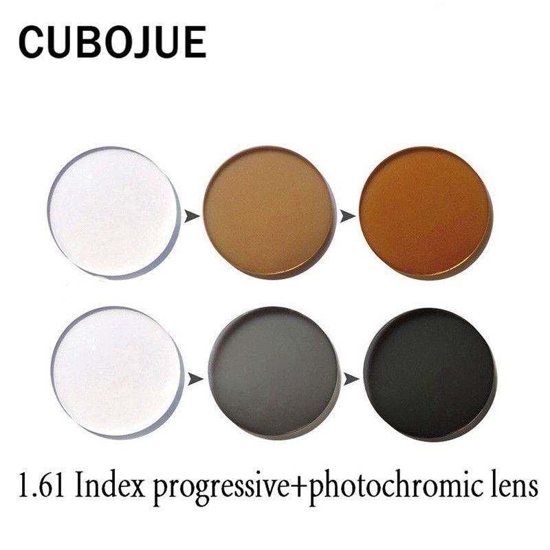 CUBOJUE 1,61 Index Harz Photochrome + progressive Objektiv für Rezept Myopie Ändern Grau/braun Anti Glare UV400 Anti Scratch