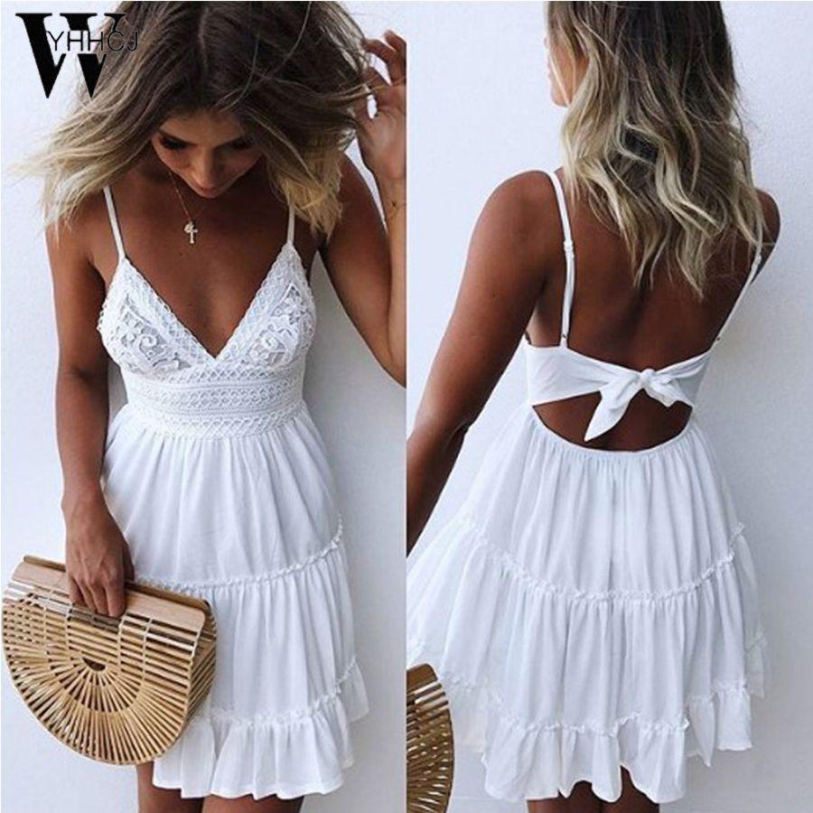 WYHHCJ 2018 backless Women Sexy Back Bow Dress Cocktail Party Slim Short Beach Party Mini Dresses Female White/Black Lace Dress