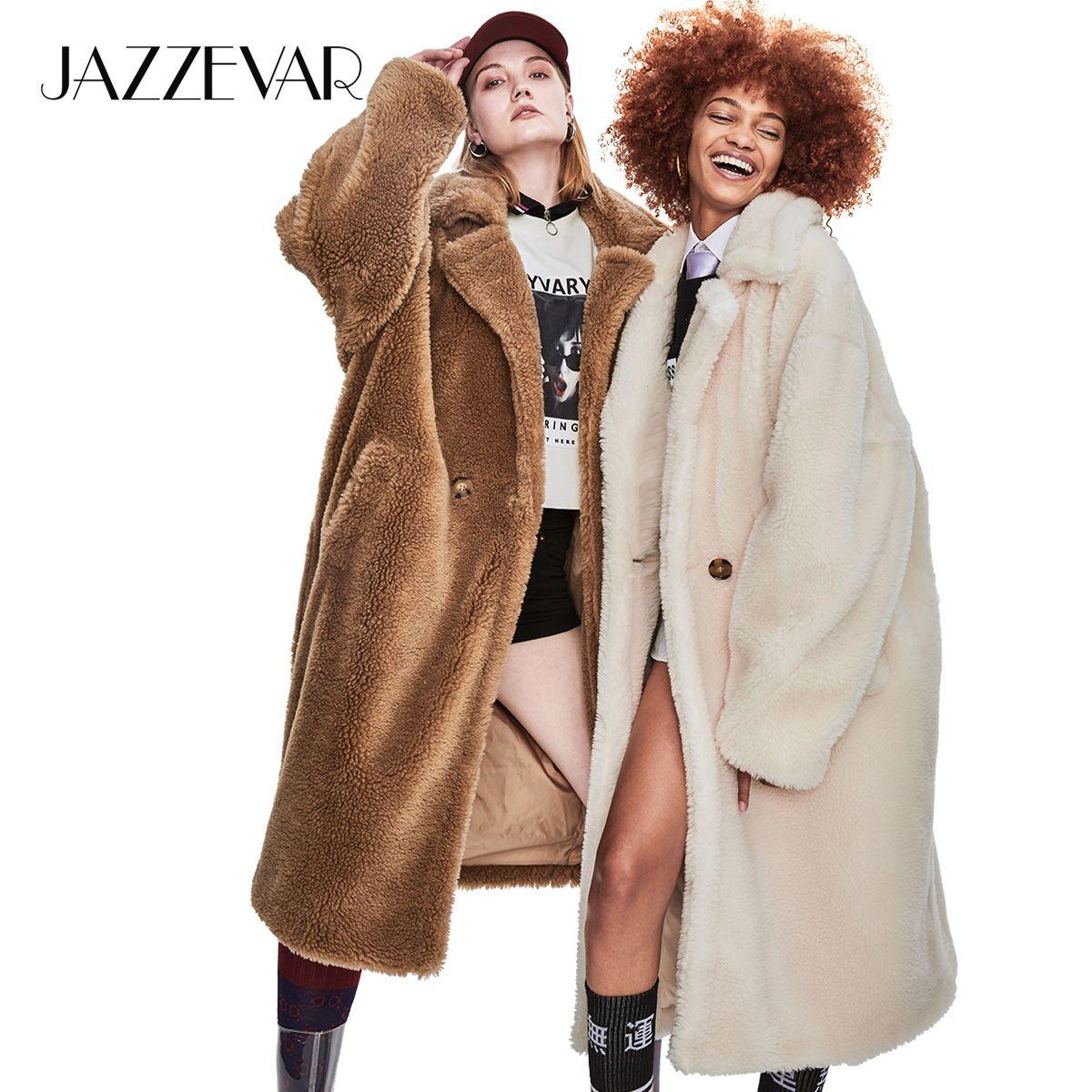 JAZZEVAR 2019 Winter Neue High Fashion Frauen Teddybär Icon Parka X-Lange Übergroßen Mantel Dicke Warme Oberbekleidung Lose kleidung