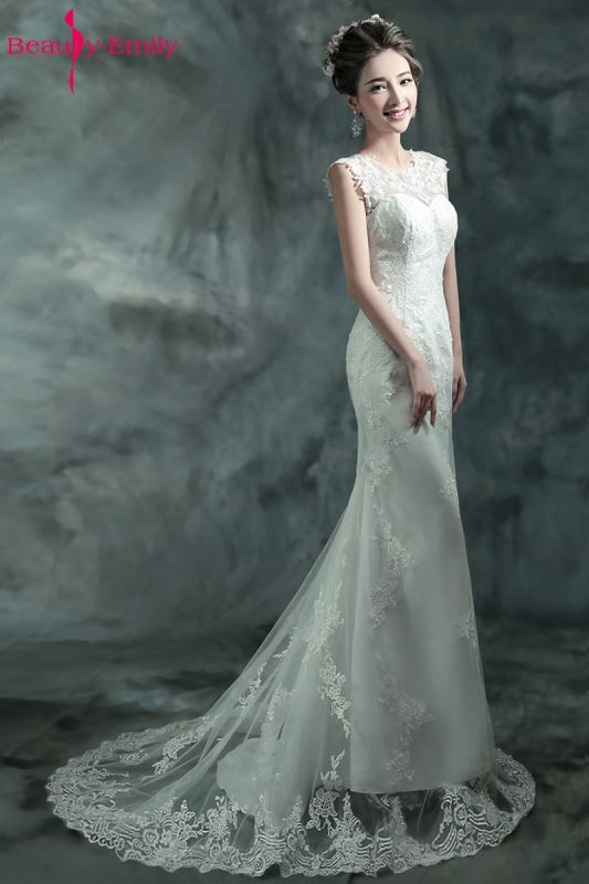 Beauty Emily Elegant Lace White Wedding Dress 2018 Mermaid Long Train Vintage Robe de Mariee vestido de novia