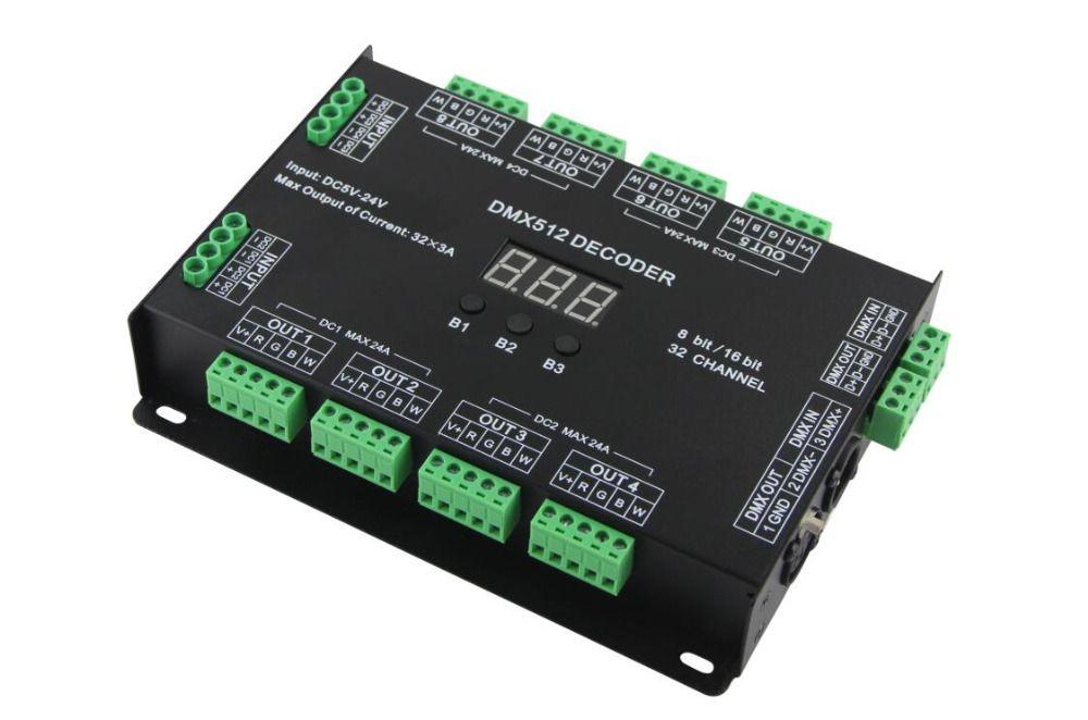 32 Kanal 96A RGBW DMX 512 LED Decoder Controller DMX Dimmer DC5-24V RGBW RGB LED-licht 8 Bit/16 Bit