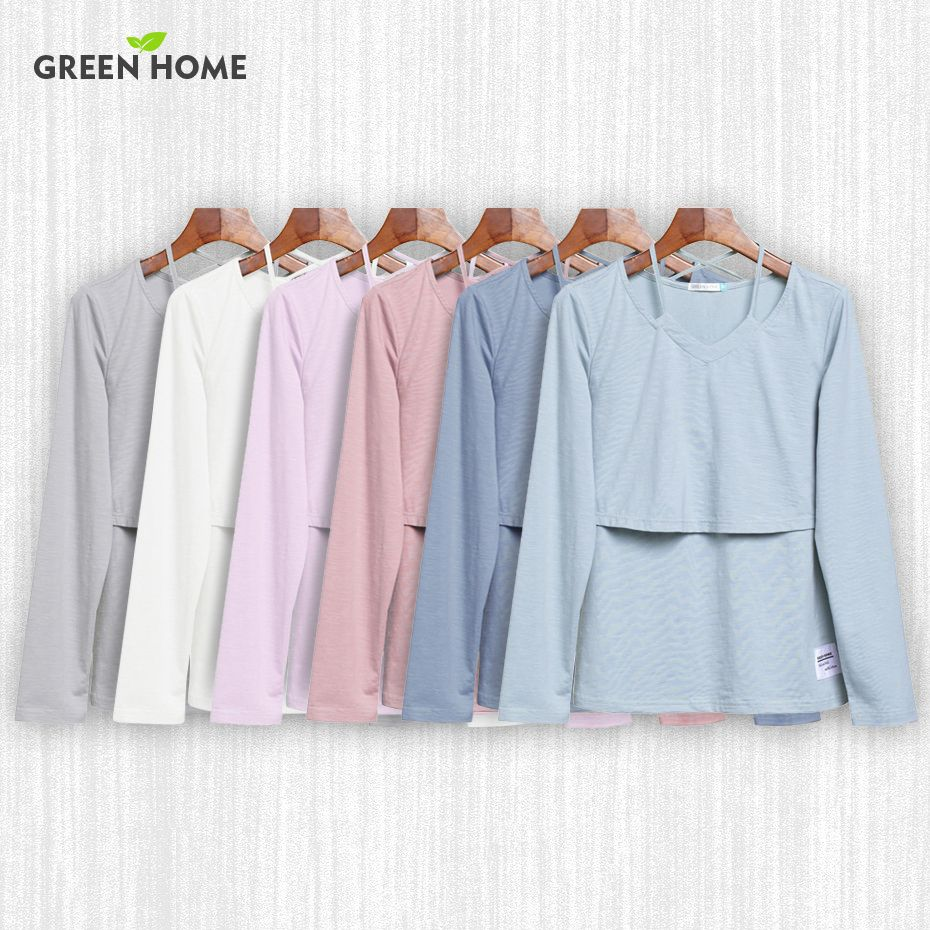 <font><b>Green</b></font> Home 7 Colors Solid Maternity T-Shirt Maternity Clothing Long Sleeves Nursing Breastfeeding Tops for pregnancy Clothes