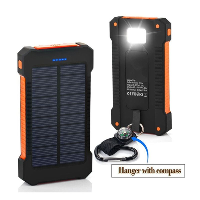 Hot power bank 20000mAh Solar Charger Portable Dual USB Solar Power Bank Outdoors Emergency External Battery for Mobile Phone