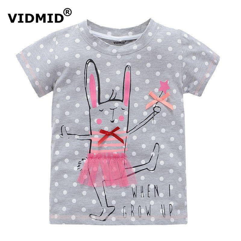 VIDMID 2-10 ans bébé Fille t-shirt grand Filles t-shirts pour enfants fille chemisier vente t shirt 100% coton enfants vêtements d'été