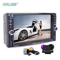 2 Din 6,6 ''pulgadas LCD pantalla táctil de coches de audio 12 V auto radio reproductor de apoyo bluetooth manos libres trasera cámara autoradio ESTÉREO