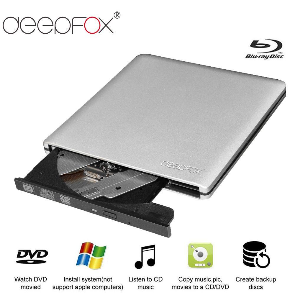 Deepfox Aluminium Blu-Ray Drive Slim USB 3.0 Bluray Burner BD-RE CD/DVD RW Writer Play 3D 4K Blu-ray Disc For Laptop Notebook