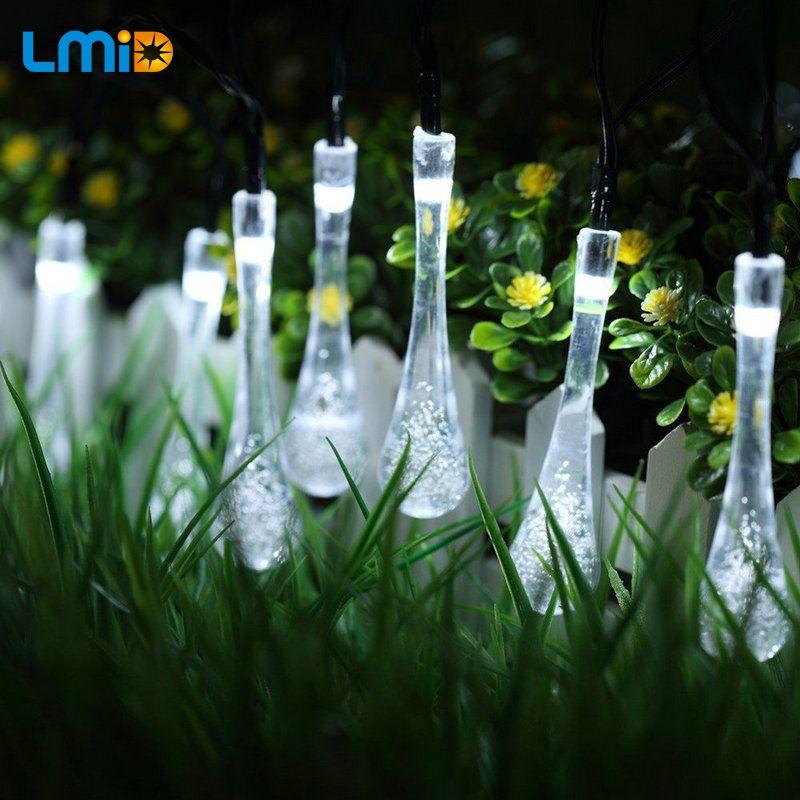 LMID 4.8 M 20 Led Solar Luces de la Secuencia de Colores Gota de lluvia Impermeable Holiday Iluminación de Navidad Al Aire Libre Jardín Decoración Lámparas
