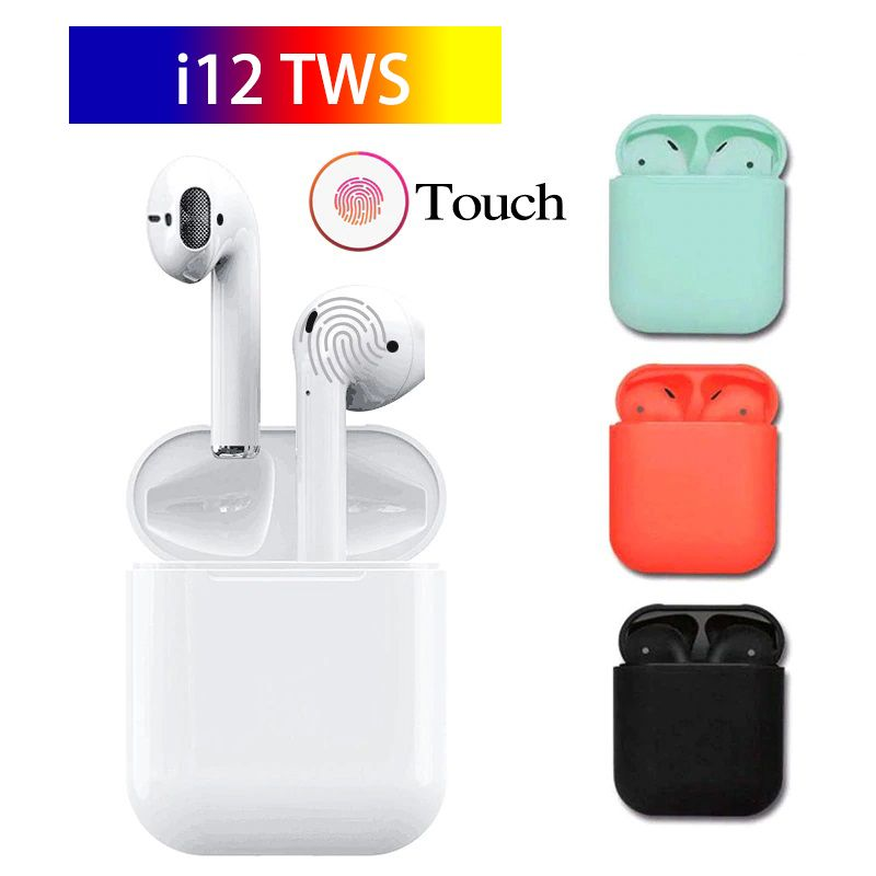 2019 I12 Tws Bluetooth 5.0 Earbuds Colour Wireless In-Ear Earphones Earpiece Touch control Stereo Air pods Headset For All Phone
