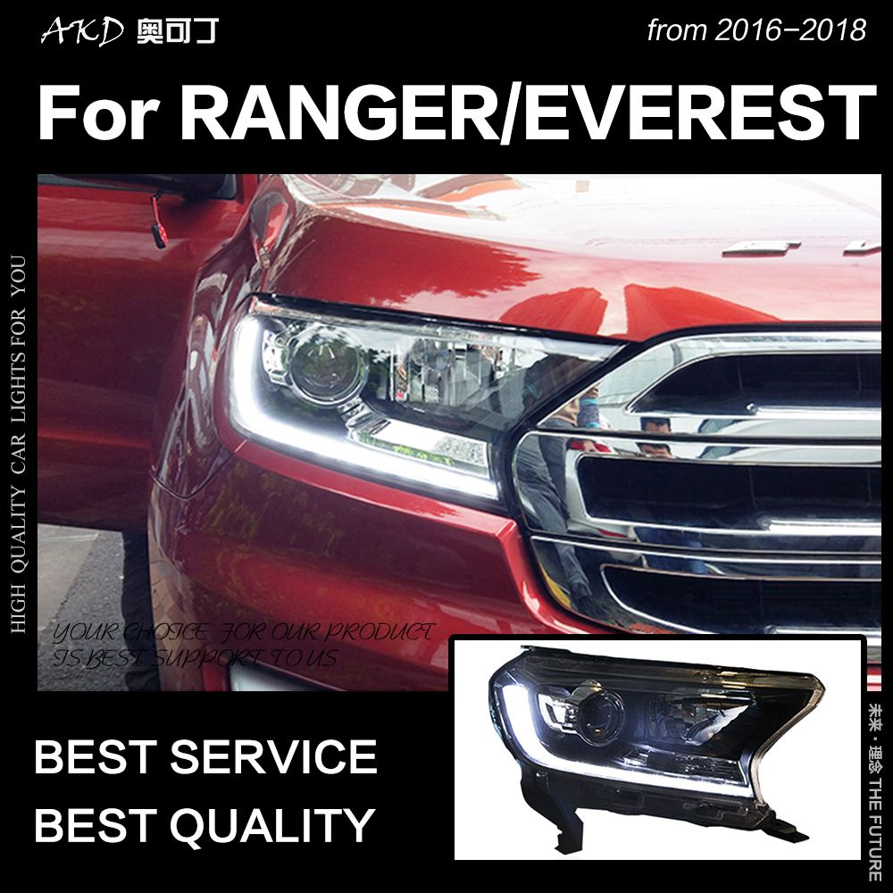 AKD Car Styling Head Lamp for Ford Everest Headlights 2016-2018 New Ranger LED Headlight LED DRL Hid Bi Xenon Auto Accessories