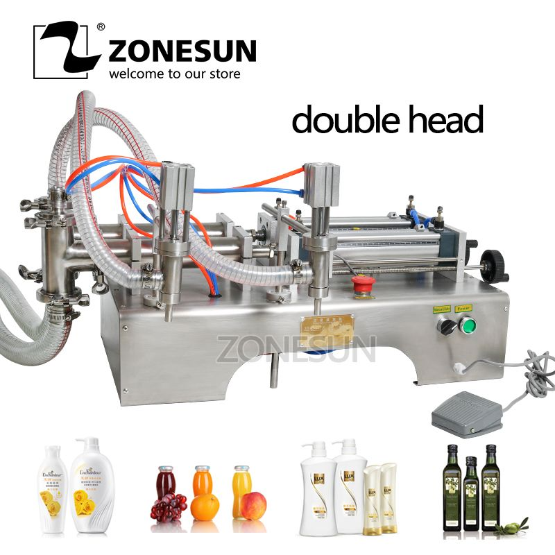 ZONESUN 300-2500ml Horizontal Full Pneumatic Double Heads Shampoo Essential Oil Beverage Mineral Water Filling Machine