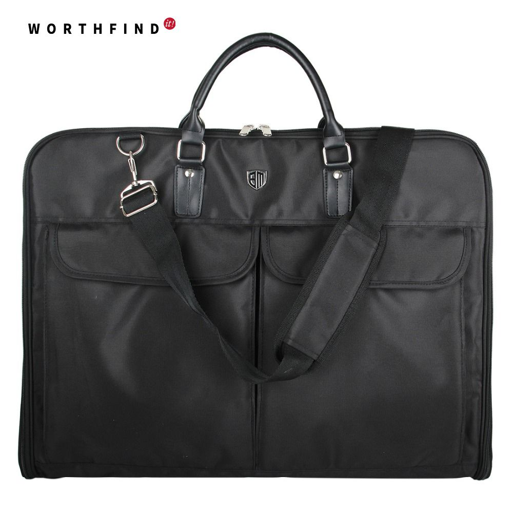WORTHFIND 2018 Black Nylon Waterproof Garment Bag With Handle Lightweight Men's Travel Bag For Suits Business Dress Suit Bag