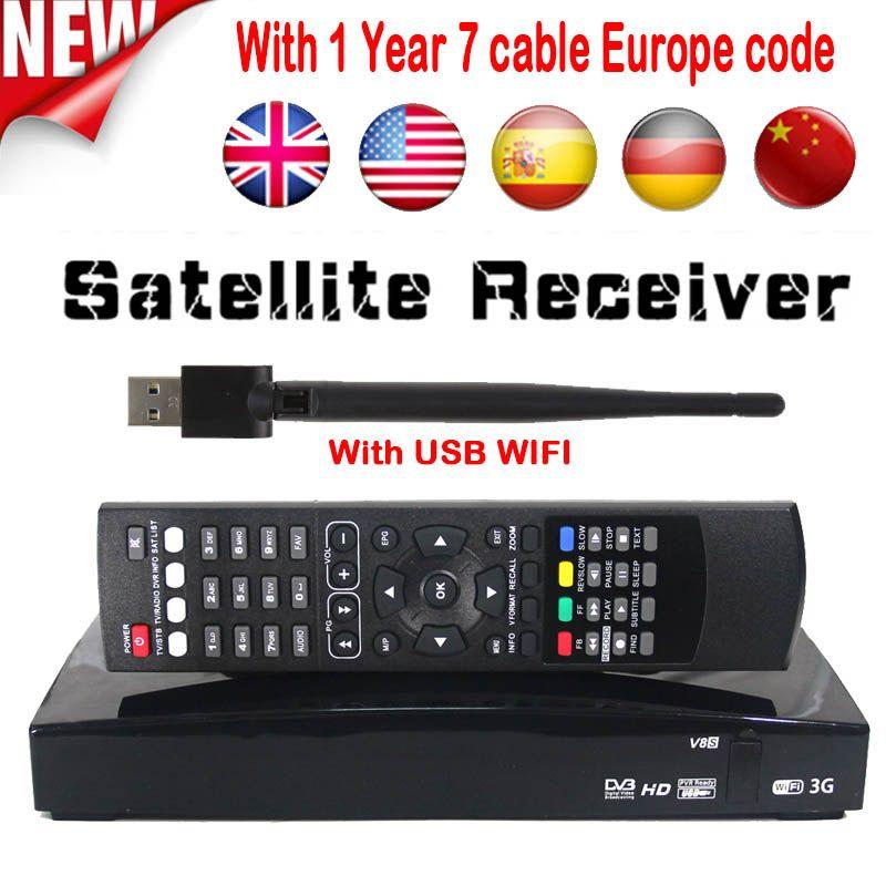 D'origine V8S Plus DVB-S2 Numérique récepteur tv satellite DVB S2 2x USB Slot Wifi 3G carte de soutien youporn NEWCAMD DVB S2 TV box