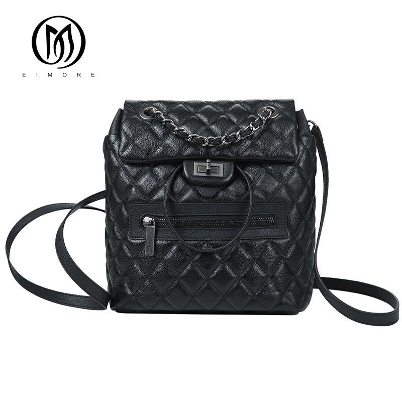 EIMORE Designer Backpack Women Genuine Leather Backpacks Vintage Teenage Girls Casual Bags Female High Quality Shoulder Bags