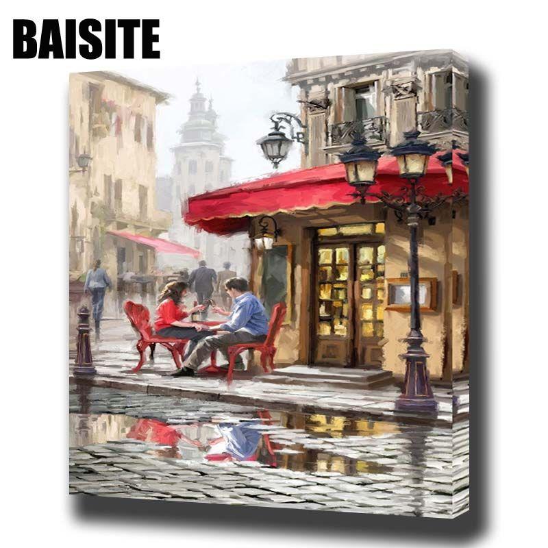 Baisite DIY обрамлении картина маслом по номерам пейзаж Живопись холст для Гостиная стены Книги по искусству Домашний Декор e748