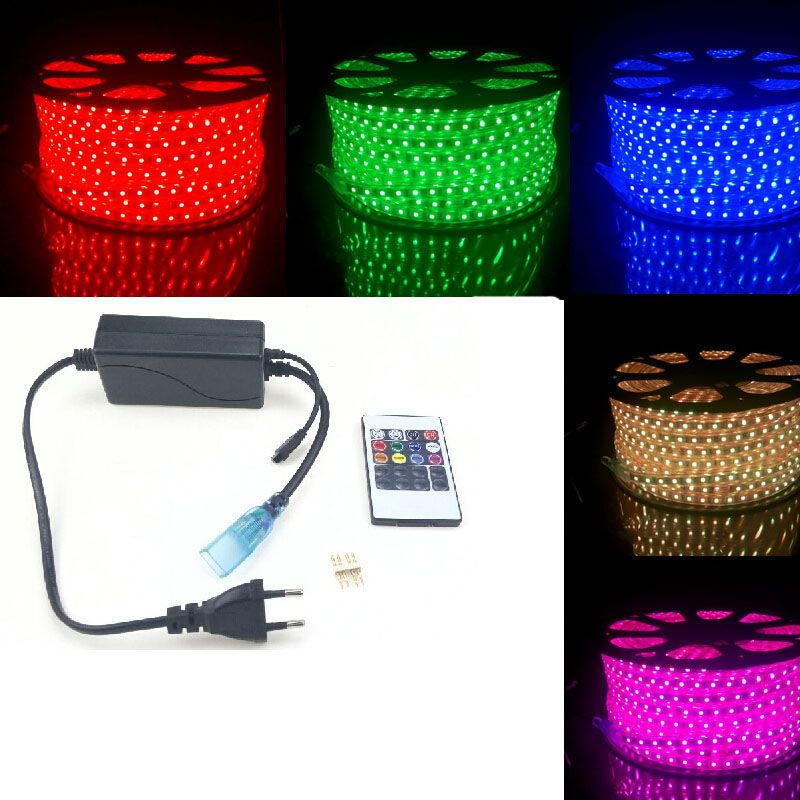 RGB LED Strip Light Waterproof 220V 240V 5050 SMD 60leds/m Ribbon + 20 Key Remote Controller 50m 40m 5m 20m Flexible Band Rope