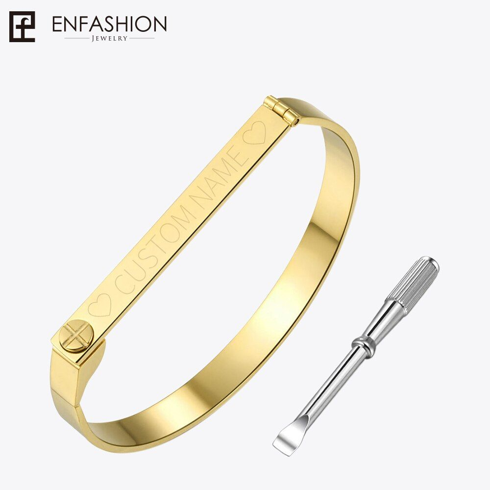 Enfashion Personalized Engraved Name Bracelet Gold Color Bar Screw Bangle <font><b>Lovers</b></font> Bracelets For Women Men Cuff Bracelets Bangles