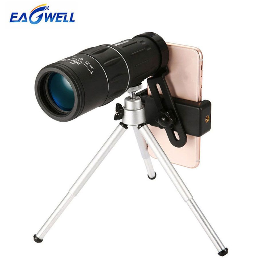 16X52 Dual Focus Telescope Lens HD Zoom Optical Telephoto Lens Universal for Smartphones Outdoor Camping Fishing With Tripod