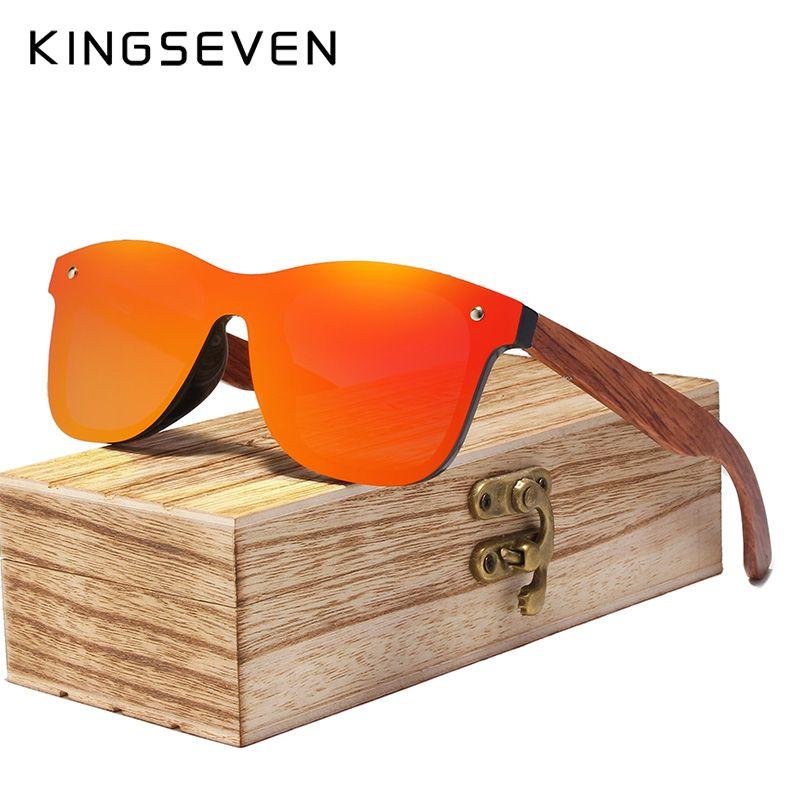 KINGSEVEN Rimless Polarized Wood Sunglasses Men Square Frame UV400 Sun glasses Women Sun glasses Male oculos de sol Feminino