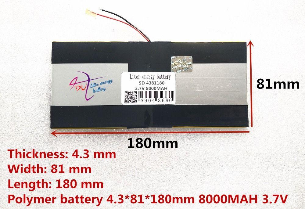 3.7 V 8000 mAH [4381180] PLIB (batterie lithium-ion polymère) batterie Li-ion pour tablette pc M9 pro 3g/max M9