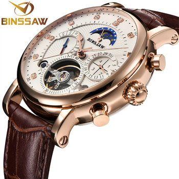 BINSSAW 2018 механические часы Для мужчин Спорт Tourbillon автоматического топ Элитный бренд Relojes Hombre кожа фазы Луны Часы relogio