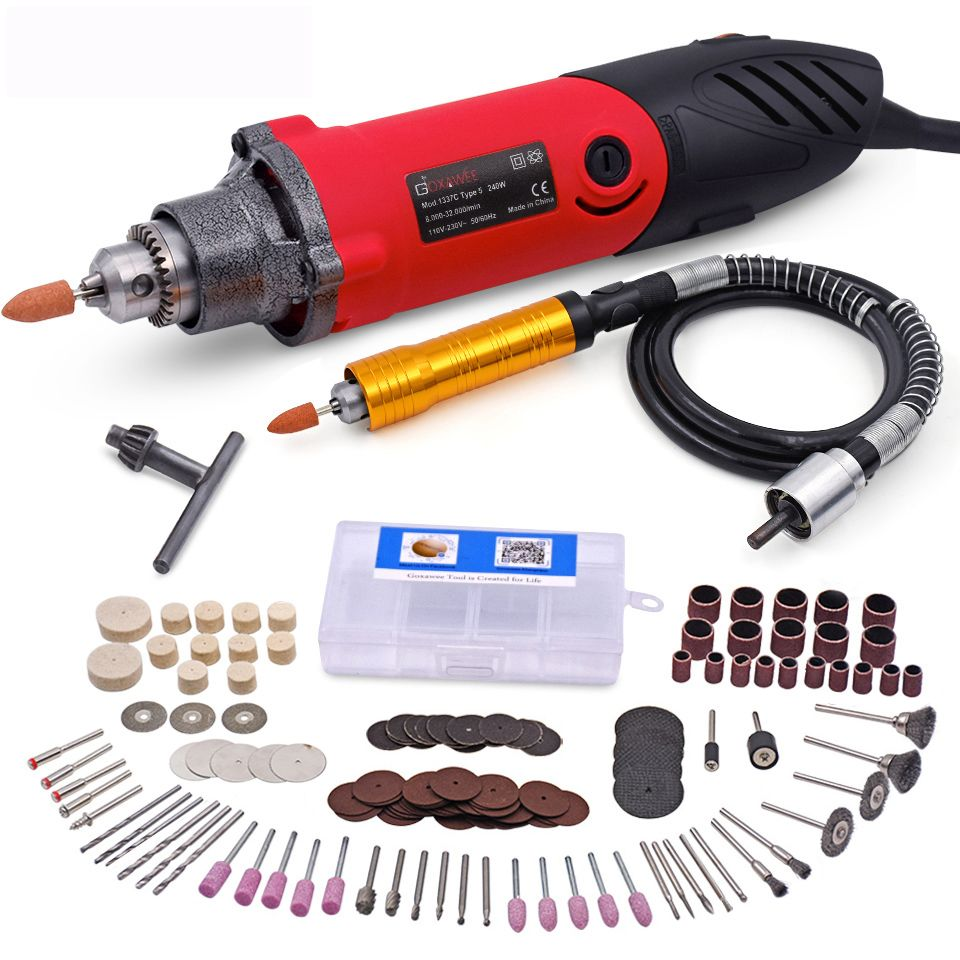 240W Mini Electric Drill 6 Position Variable Speed Dremel Rotary Tools Mini Die Grinder For Grind Ceramic Metal Power Tool