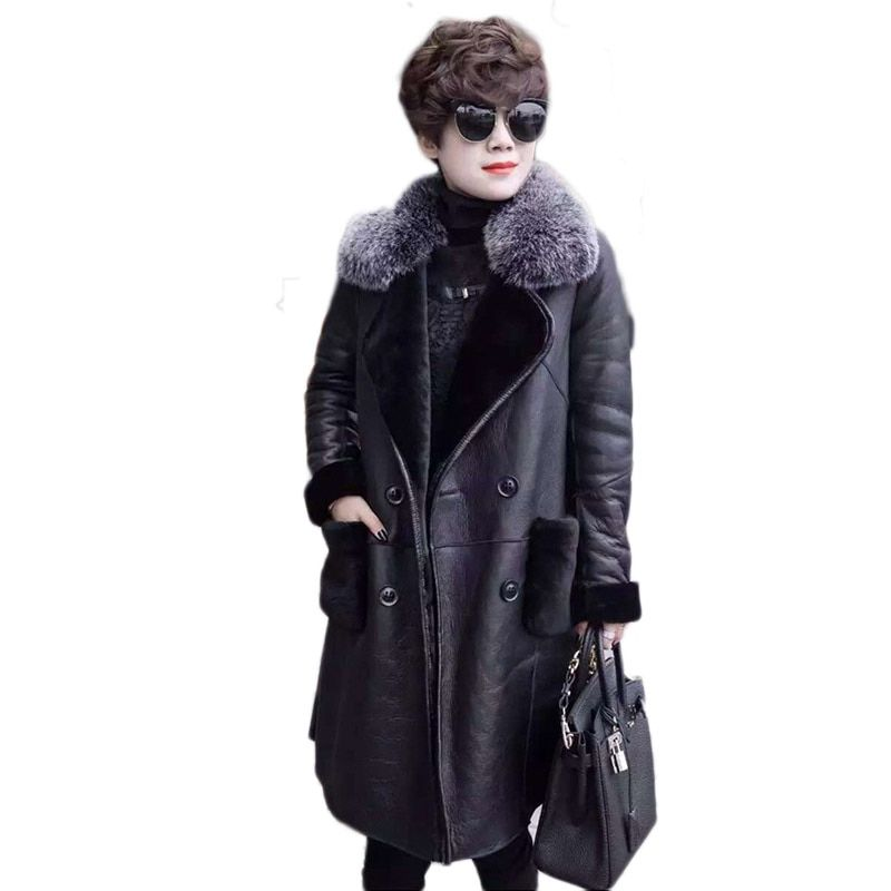 2018 Fashion Boutique Women Winter Wool Double-faced Fur New Warm Jacket Thicken fur with lambskin fur coat Large size XL-6XL