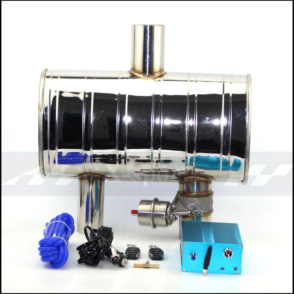 Auto auspuffrohr Vakuum pumpe Variable Ventil Schalldämpfer fernbedienung edelstahl Universal ID 51mm 63mm 76mm mitte 2 ausgang
