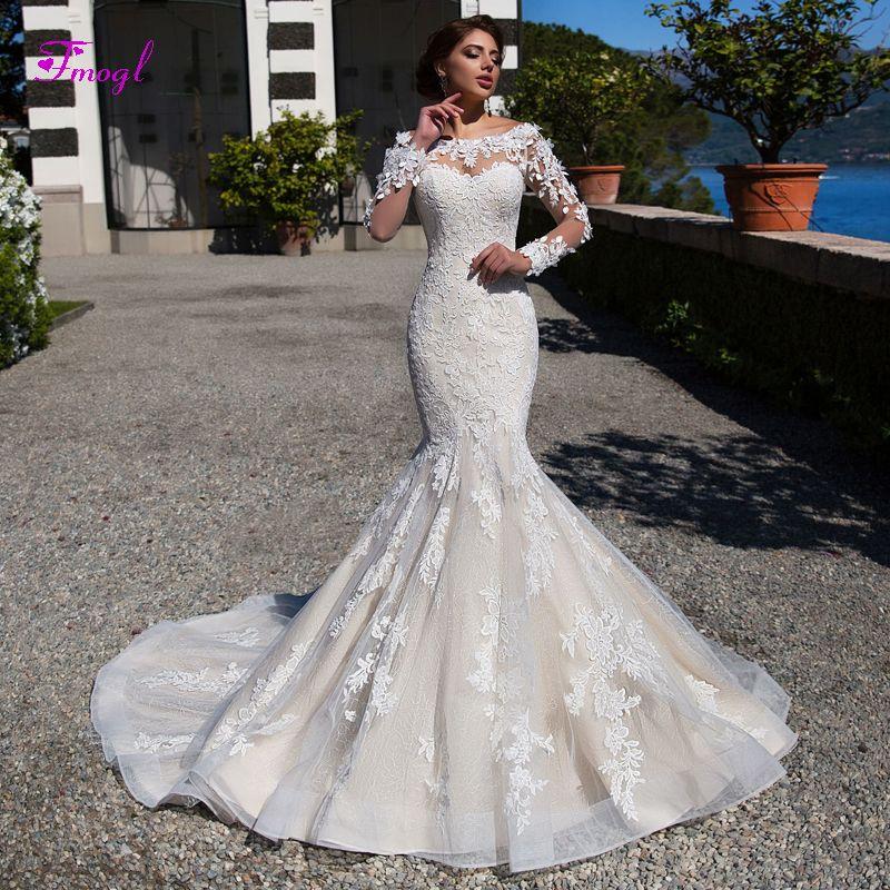 Wunderschöne Appliques Langen Ärmeln Spitze Meerjungfrau Hochzeit Kleider 2019 Fashion Scoop Neck Taste Trompete Brautkleid Vestido de Noiva