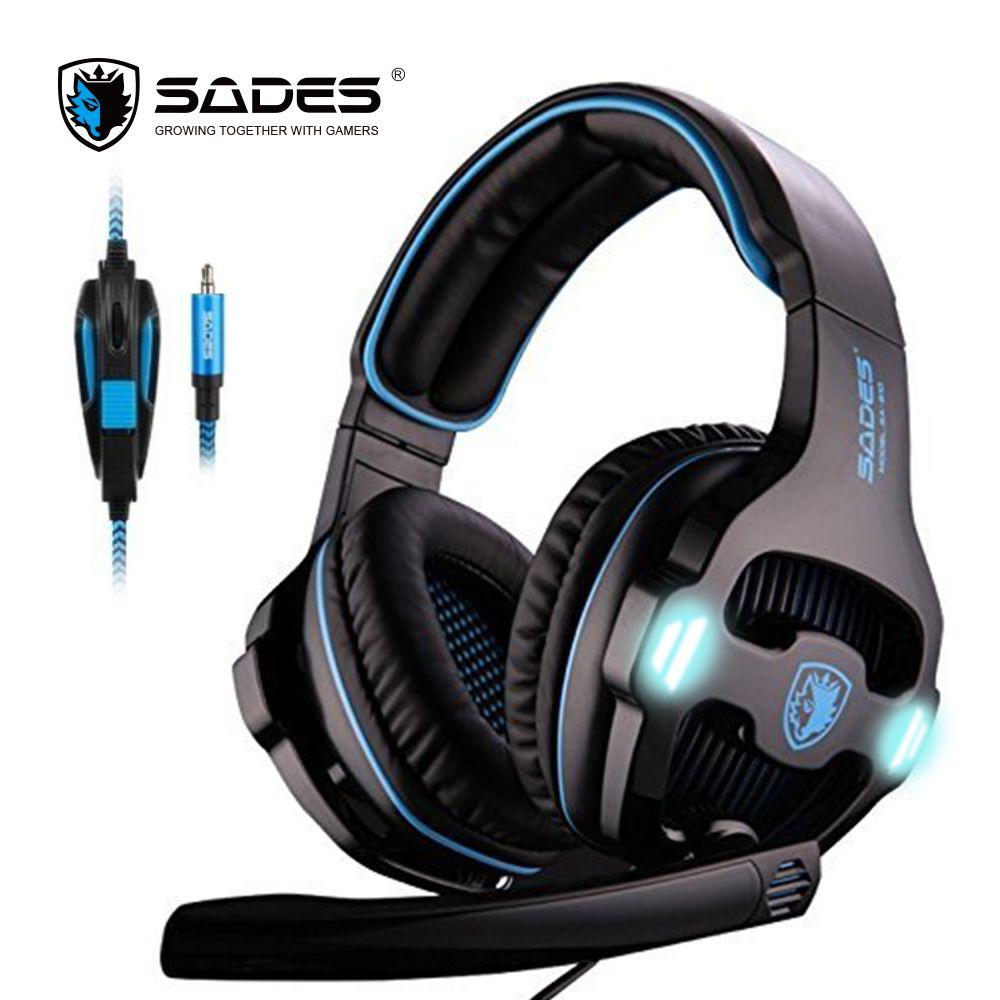 Origine SADES SA-810 casque 3.5mm Filaire Stéréo PC Gaming Headset avec Microphone pour PC Ordinateur Portable blanc bleu gaming casque