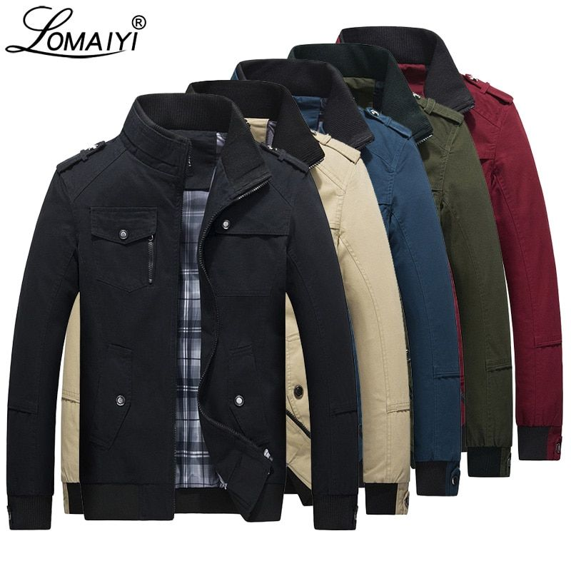 LOMAIYI Men's Spring Autumn Jacket Men Pure Cotton Red/Black Casual Jacket Mens Bomber Jackets And Coats Male Windbreaker BM056