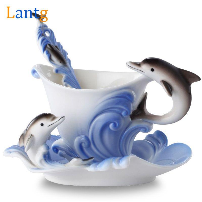 Tasse à café en émail coloré porcelaine costume créatif dauphins tasses et tasses européennes, une tasse de café + disque + scoop pour ami présent