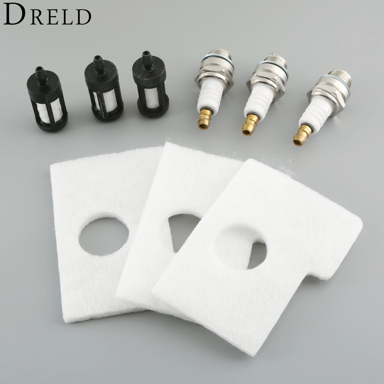 DRELD 9Pcs/set Air Fuel Filter Spark Plug Kit For STIHL MS180 MS170 018 017 Chainsaw #1130 124 0800 Garden Tool Parts