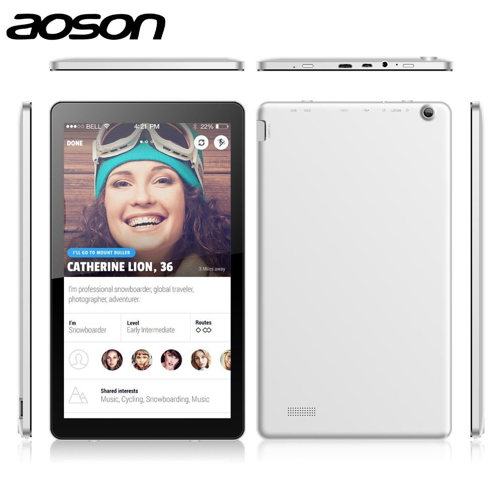 10.1 inch Android 5.1 PC Tablet Core Dual Cam WiFi Tablets Aoson M1020 1GB+16GB Allwinner A83T Octa HDMI OTG Android Tablets PC