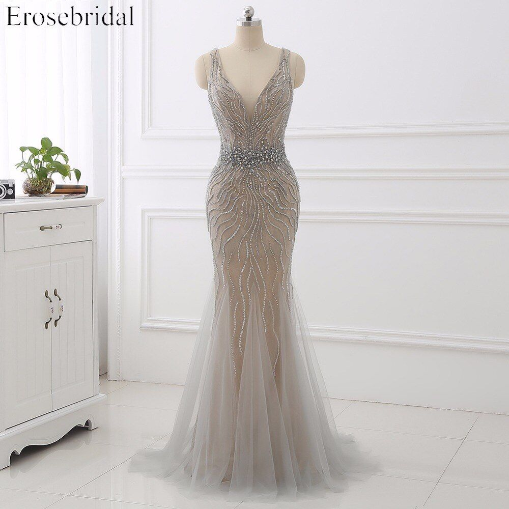 2018 Evening Dress Erosebridal Beading Gowns Robe De Soiree Backless Vestido De Festa Formal Women Dresses Sleeveless ZCC04